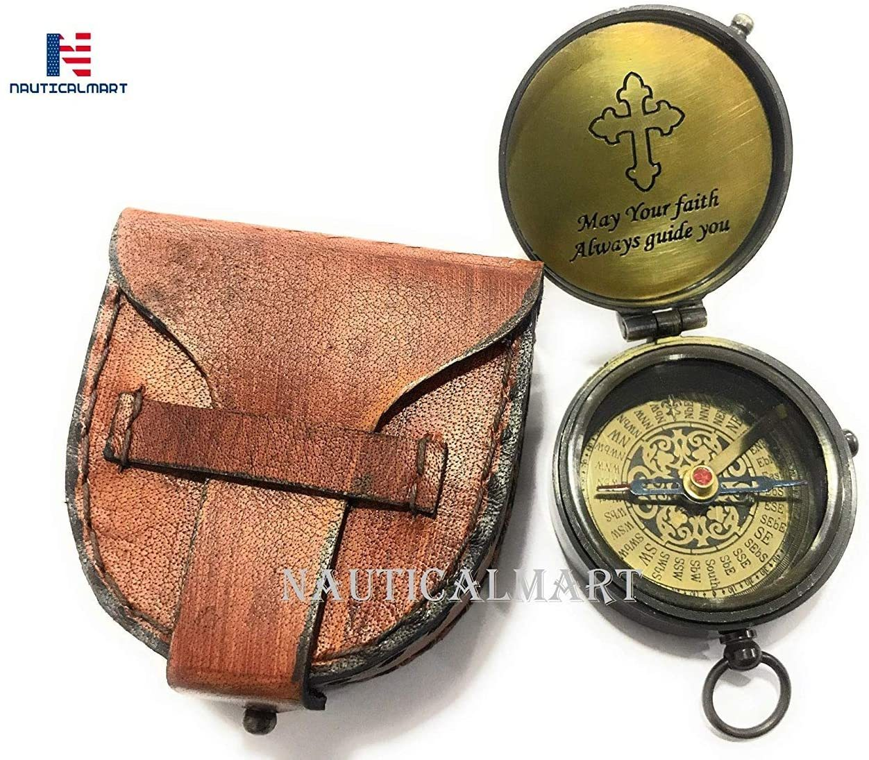 May Your Faith Always Guide You and Cross Engraved On Working Compass, Confirmation Gift Ideas, Baptism Gifts, Birthday, get Well Soon, Graduation Gifts