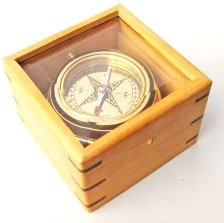 NauticalMart Handcrafted Gimbaled Brass Compass in Wooden Box