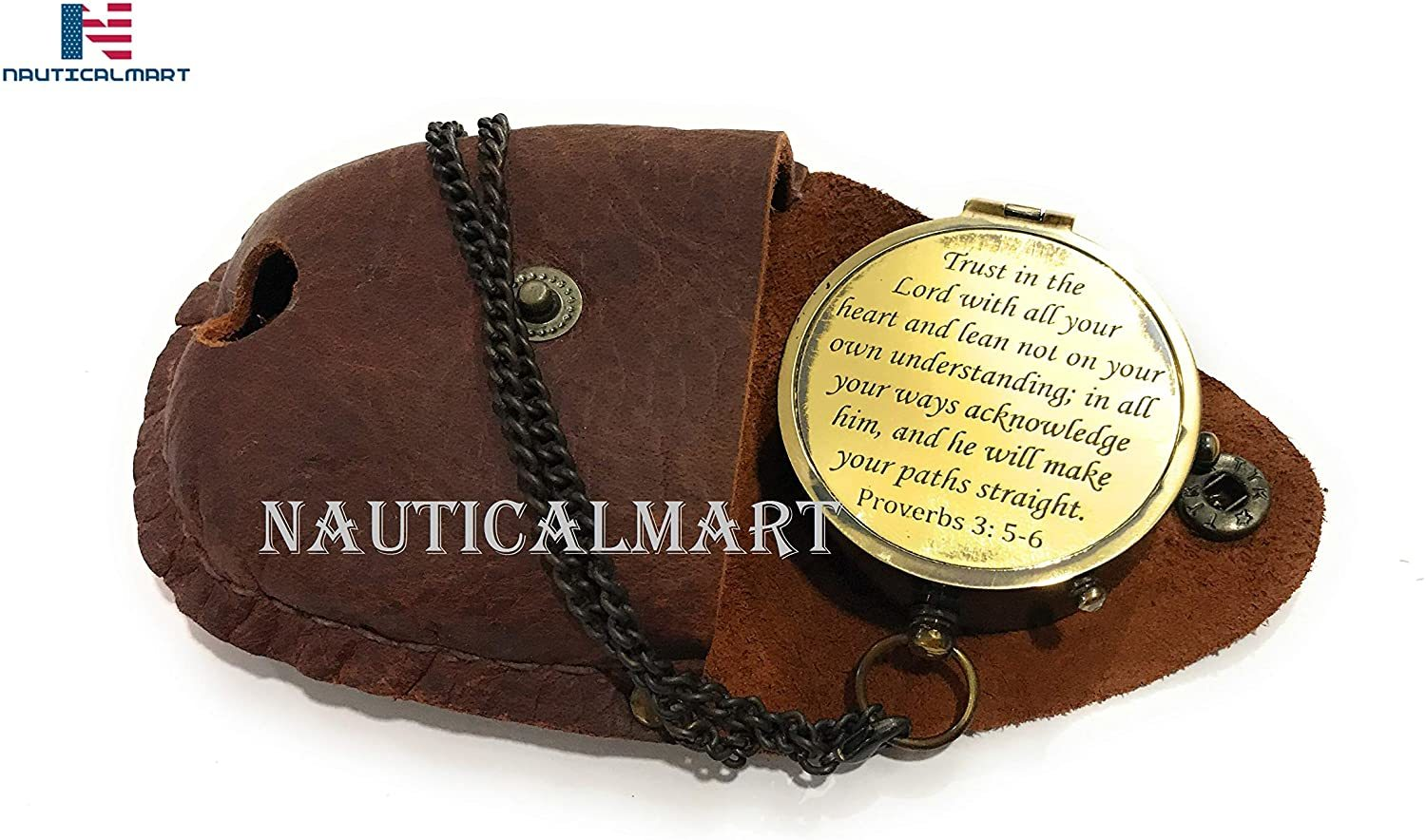 NauticalMart Brass Compass Trust in The Lord with All Your Heart Engraved Compass, Proverbs 3: 5-16