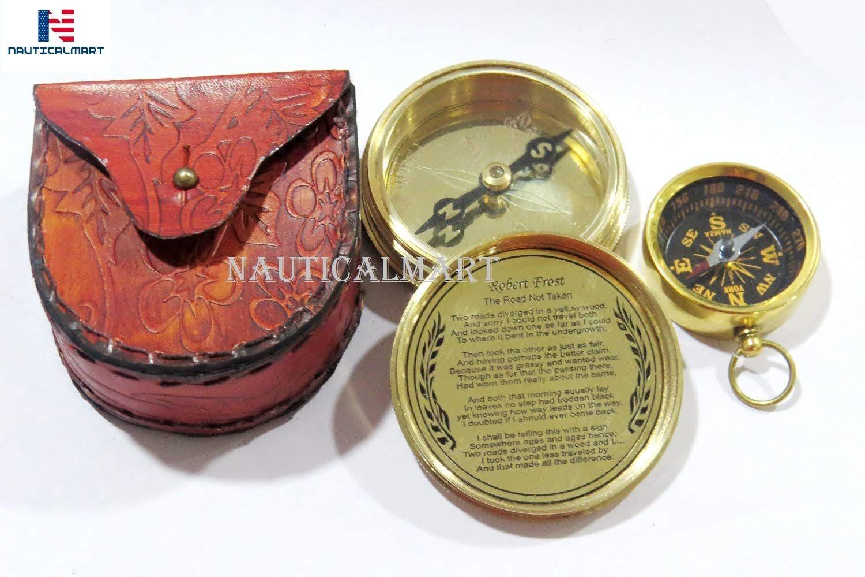 NauticalMart Brass Compass Man Cannot Discover New Oceans with Mini Pocket Compass Combo Gift, Graduation, Birthday, Wedding Keepsake, Christmas, Baptism, Vintage Working Compass