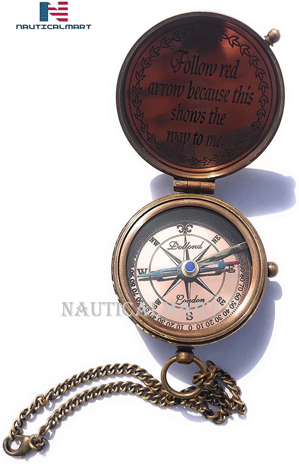 Not All Who Wander Are Lost Engravable Compass - Pocket Compass - Brass Compass With Leather Case - Pirates Compass - Gift Compass - Camping Compass - Confirmation Gift Idea - Baptism Gifts - Keepsake
