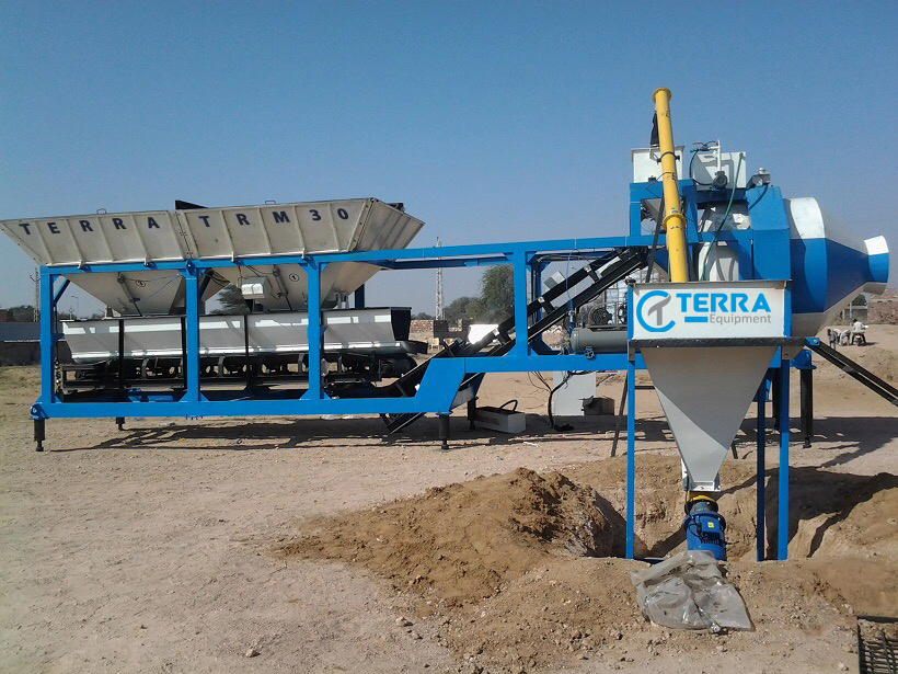 Mobile Concrete batching plant with reversible drum type mixer