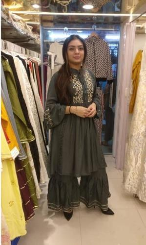 Fancy frok style kurti with ghaghra