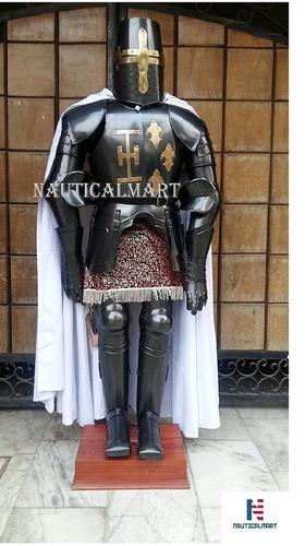 Black Knight Crusader Templar Suit Of Armor Medieval Reenactment SCA Body Armour