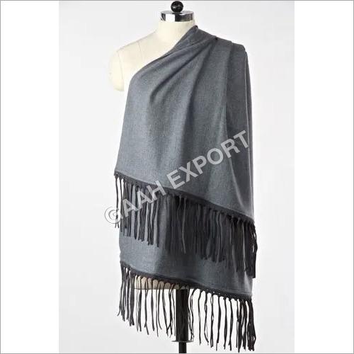 Cashmere Pashmina Leather Suede Tussle Stole , SIze-70x200cm