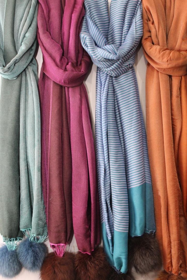 Wool , Silk , Pashmina , Cashmere  Fur Pom Pom Stoles , Size-70x200cm