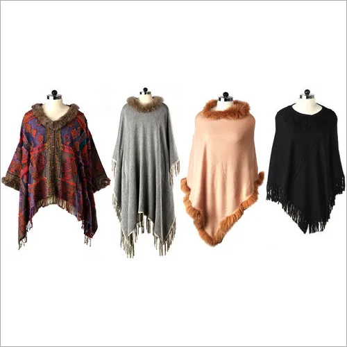 Cashmere , Wool Suede Tussle Poncho , Size-Free