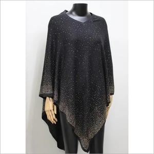 100% Cashmere Plain and Crystal Pearls Poncho Stole , SIze-free