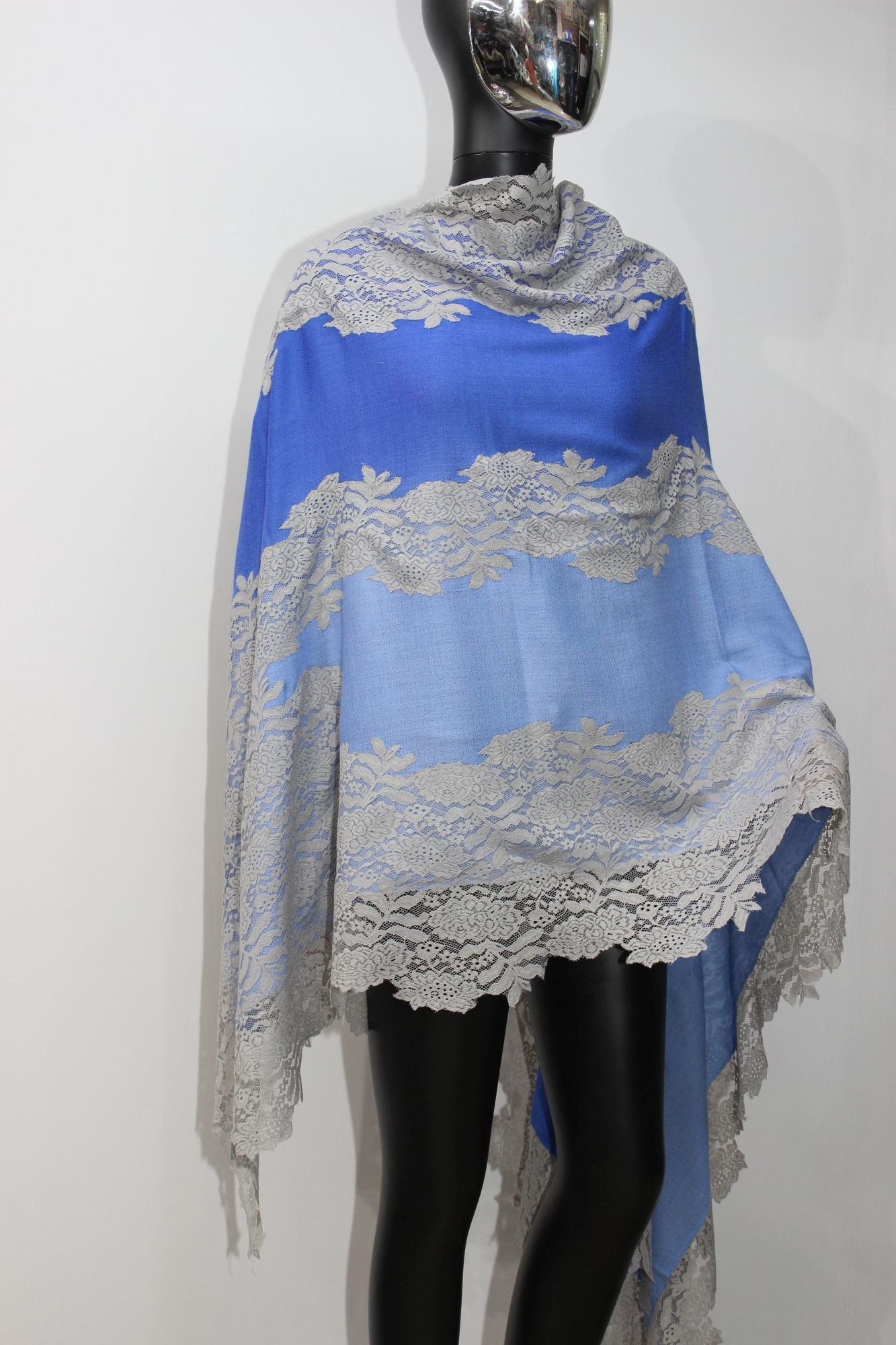 Cashmere Ombre Shaded Lace Shawls , Size-90x210cm