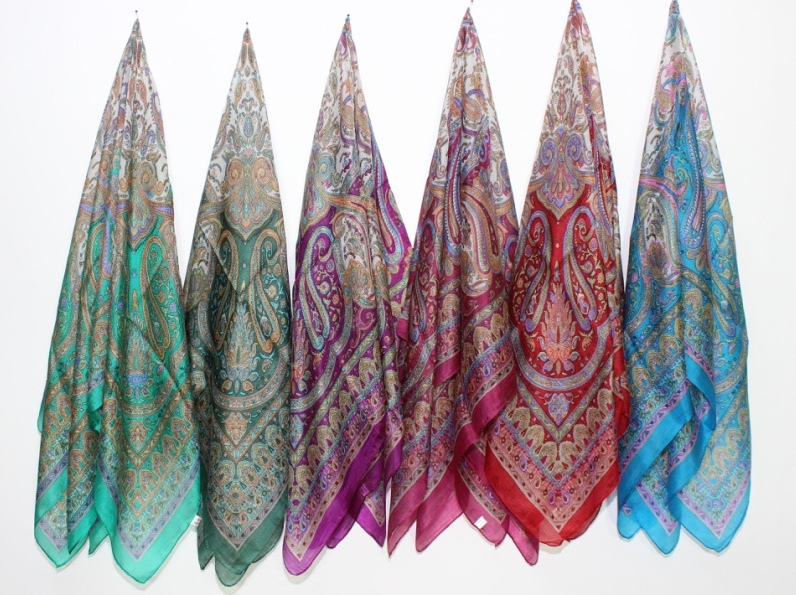 100% Pure SIlk Printed Scarfs , Size-100x100cm and 55x170cm