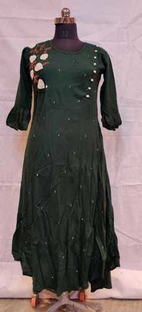 party wear straight handwork kurti