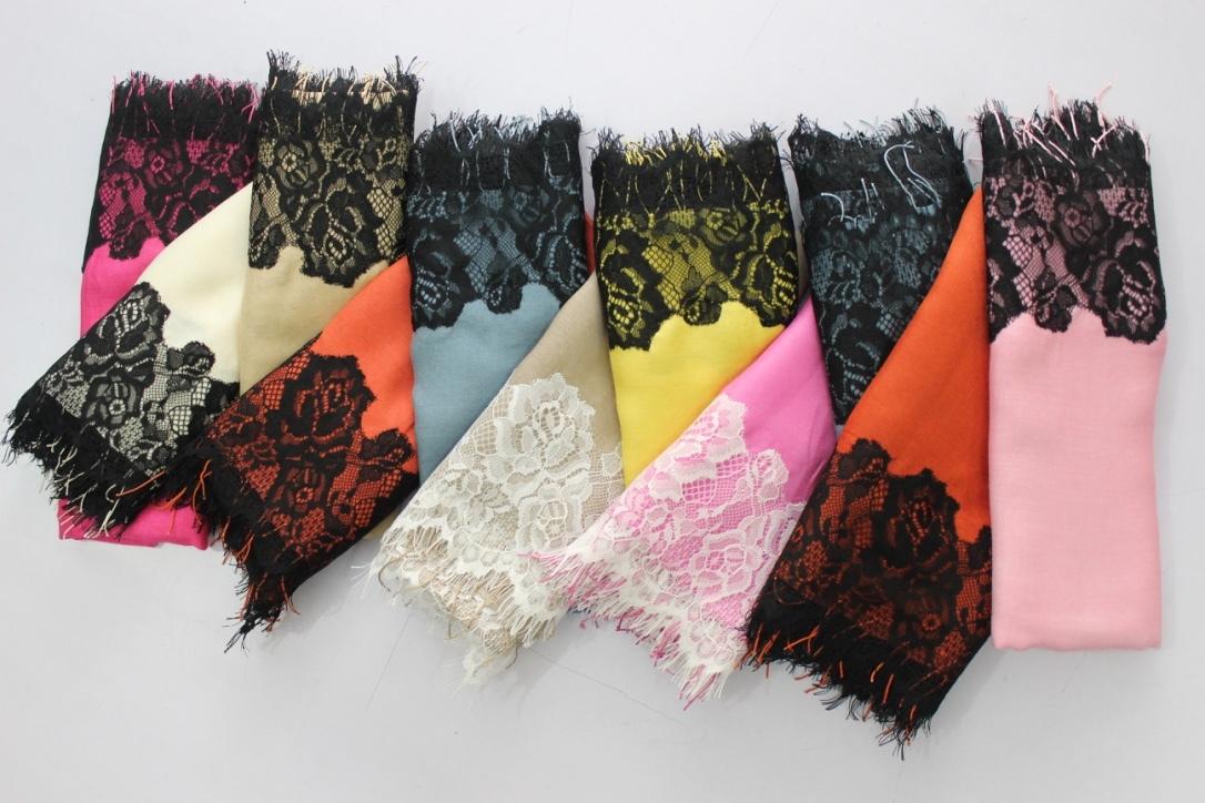 Silk Lace Stole, SIze-70x200cm