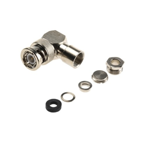 BNC Connector Male Right Angle 50Ω Cable Mount Plug Nickel Clamp Termination RG58 C/U