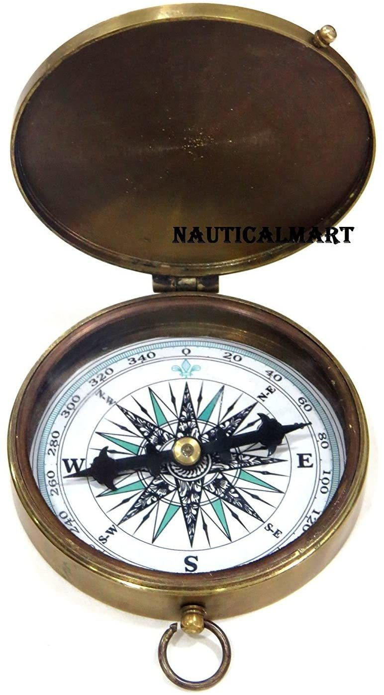 NauticalMart Brass Compass Robert Frost Poem Engraved Embossed Needle with Leather Case