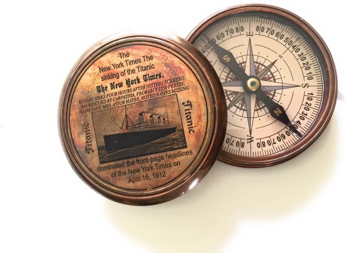 Christmas Gift Maritime Brass Antique Titanic Poem Compass