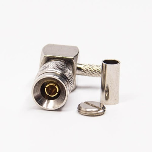 DIN 1.0/2.3 Connector Right Angle Male Crimp Type For Coaxial Connector