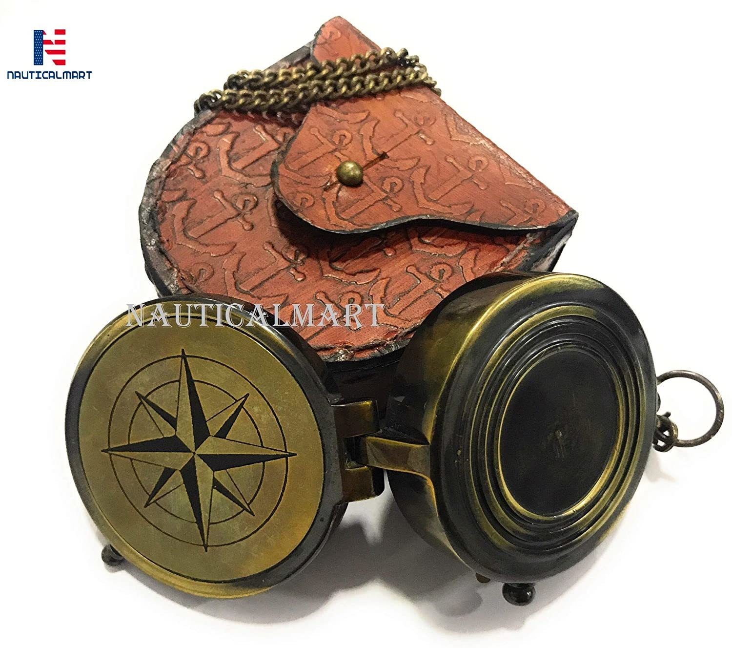 Brass Compass Will Protect You Proverbs 2:11 Antique Compass with Leather case Anchor Stamped
