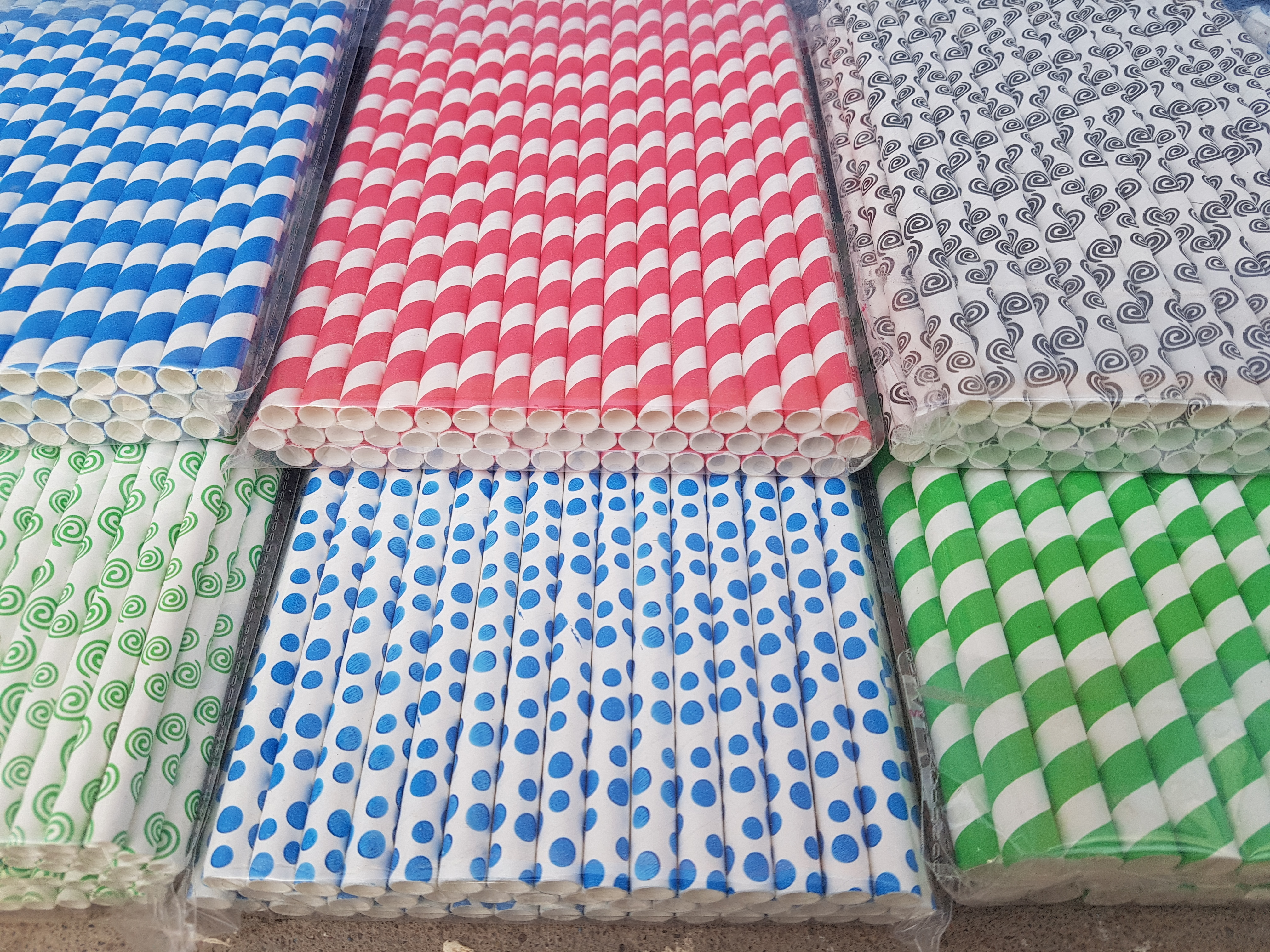 Stripes Printed Paper Straw