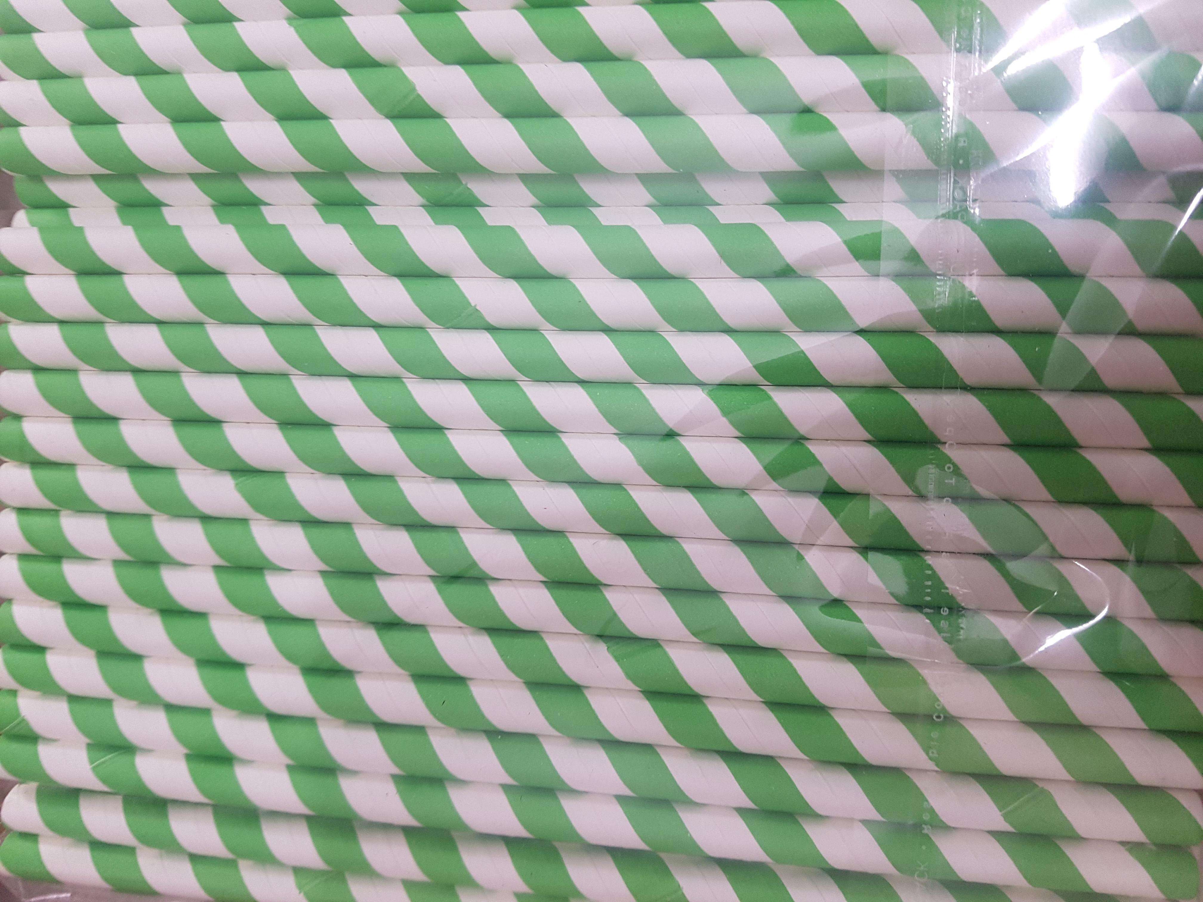 Stripes Printed Paper Straw