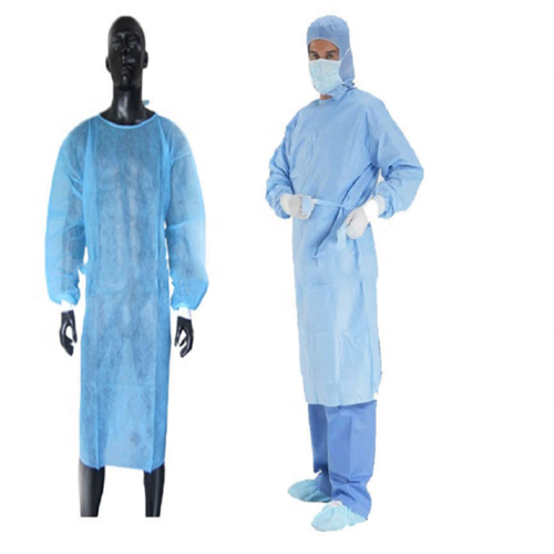 Hospital yellow/blue PE PP Isolation Gown disposable hospital gowns