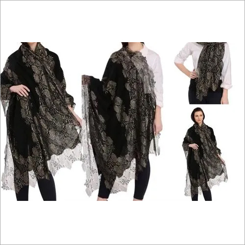 Cashmere Metalic Lace Shawls , Size-70x200cm and 90x210cm