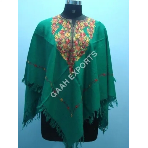 Wool Ary Embroided Poncho , Size- Free