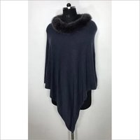 Cashmere Knitted  Neck Fur Poncho , Size-free