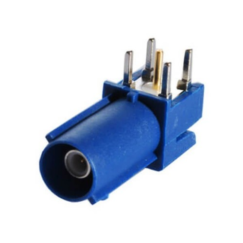 Fakra C Connector Male Blue Through Hole PCB Right Angle