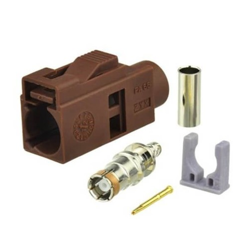 Fakra Coax Connector Car TV Fakra F Female Brown Crimp Solder Connector For RG316 RG174 Cable