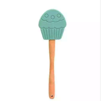 Cupcake design silicone spatula with wood handle KC-1165D
