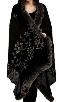 Cashmere 4 SIde Fur shawls with Crystal , SIze-70x200cm