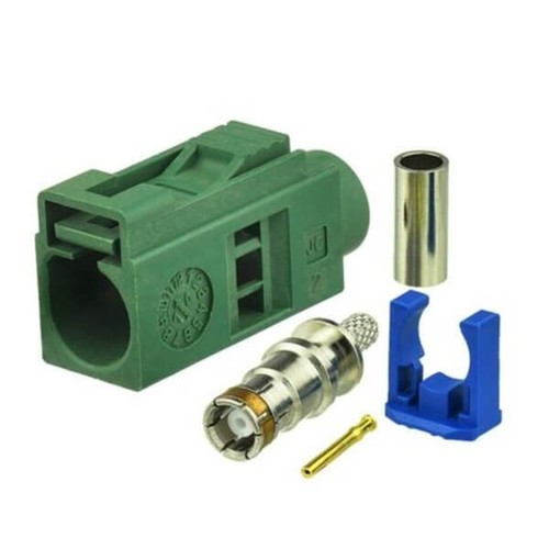 Fakra E Connector Car TV Female Green Crimp Solder Connector For RG316 RG174 Cable