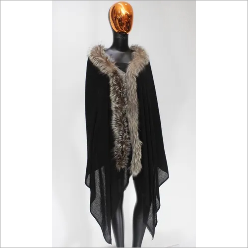 Pashmina and Cashmere One Side fur stole , Size-70x200cm