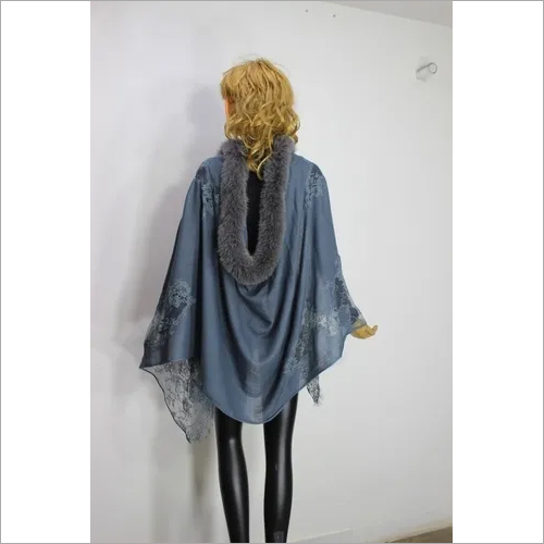 Cashmere One Side fur and Lace Border Stole , Size-70x200cm