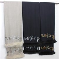 Cashmere Crystal Border and border Fur Stole , Size-70x200cm