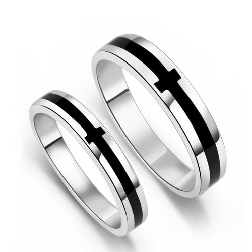 Silver Enamel Couple Rings