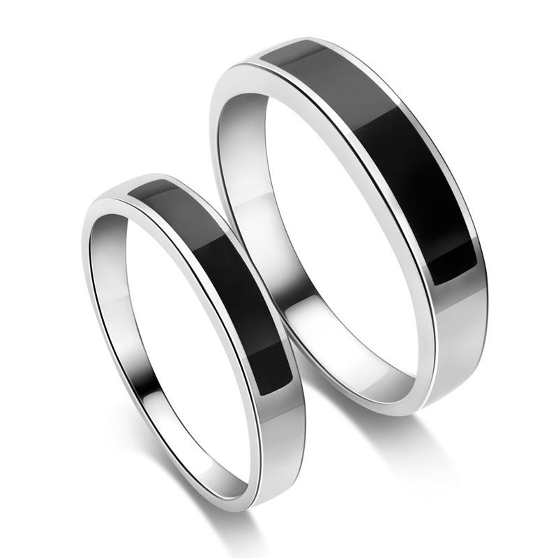 Silver Enamel Couple Rings
