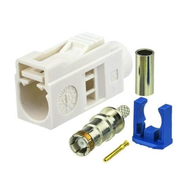 Fakra Female Plug Car Radio Fakra B White Crimp Connector For RG316 RG174 Cable