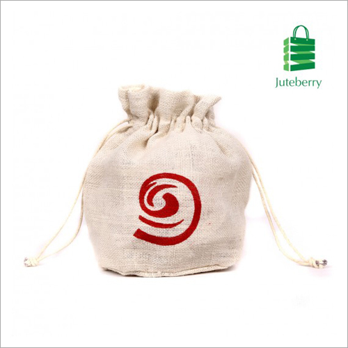 Jute Drawstring Printed Bag
