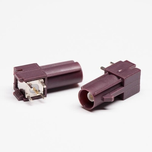 FAKRA SMB Connector C Type Brown Coax Female Through Hole For PCB