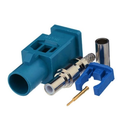 Fakra Z Connector Male Water Blue Crimp Solder Connector