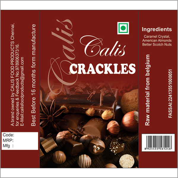 Calis Crackles Chocolate Packing Pouches