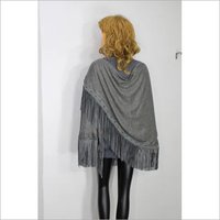 Pashmina Leather Suede Tussle With Crystal Border D design Stole, Size-70x200cm