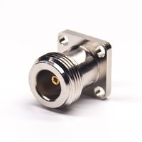 N Type Jack Connector Straight Watertight 4 Hole Flange For Panel Mount