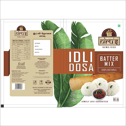 Idli Dosa Batter Package Pouches