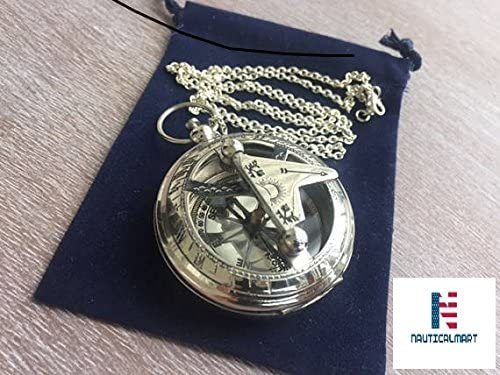 Brass Sundial Compass with Chain & Velour Bag - Necklace Pendant Vintage Nautical Gift