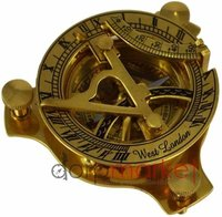 "3/"" Brass west london antique nautical sundail compass with wooden box"
