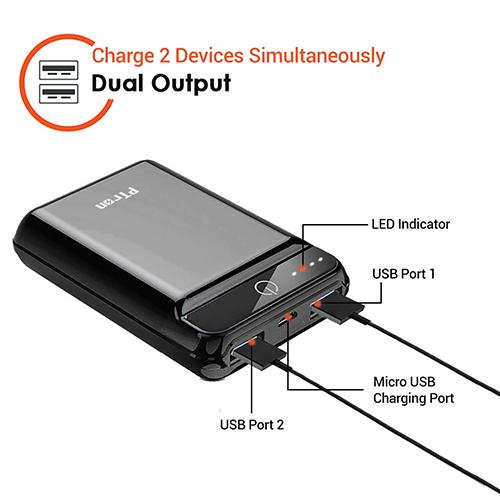 pTron Dynamo 10000mAh 2.4A Ultra-compact Power Bank with Dual USB Ports