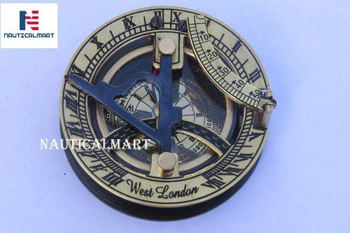 Brass Sundial Compass - Solid Brass Sun Dial Beautiful Antique Look Nautical Sundial Compass