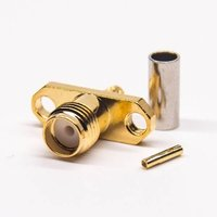 SMA 2 Hole Flange Connector Female Straight Cirmp Type Coaxial Cable